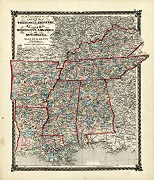 County Map of Tennessee, Kentucky, Alabama, Mississippi,: Warner & Beers