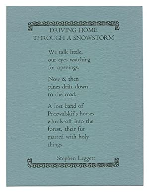 Driving Home Through A Snowstorm (Poetry Post Card No. 29)