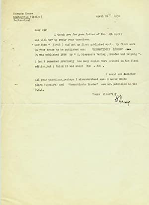 Typed Letter Signed (in English), Montagnola (Ticino), Switzerland, April 26, 1950: Hesse, Hermann