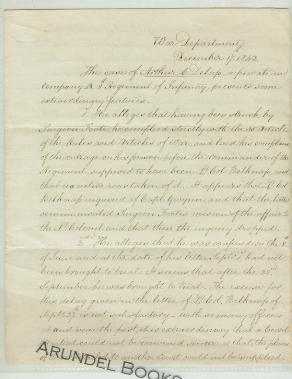 Autograph Letter Signed to Secretary of War Edwin M. Stanton: Hitchcock, Ethan Allen