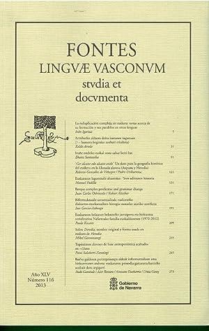 FONTES LINGVAE VASCONUM. STVDIA ET DOCUMENTA. Año: V.V. A.A.
