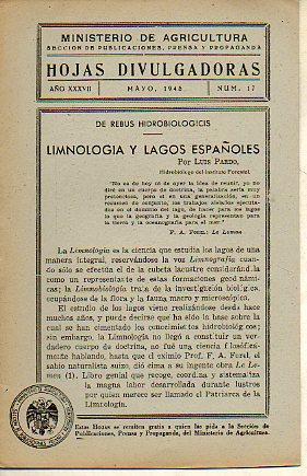 HOJAS DIVULGADORAS. Año XXXVII. Nº 17. Limnología: Sección de Publicaciones,