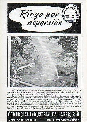 Díptico Publicitario: RIEGO POR ASPERSIÓN.: Comercial Idustrial Pallarés.