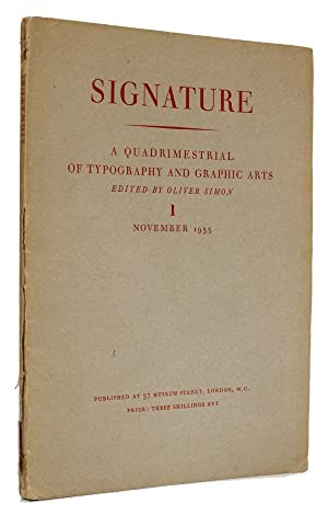 Signature A Quadrimestrial of Typography and Graphic Arts. 1. November 1935.