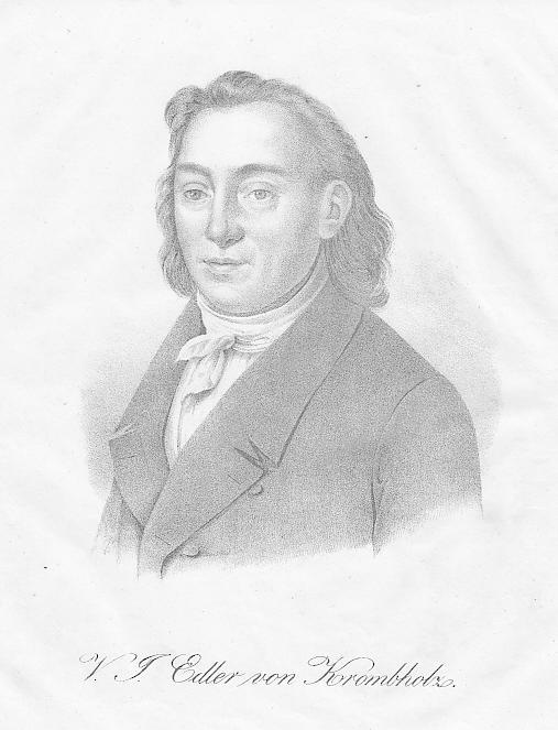 Porträt. Brustbild. Lithographie (anonym), 19 x 13,5: Krombholz, Julius Vincenz
