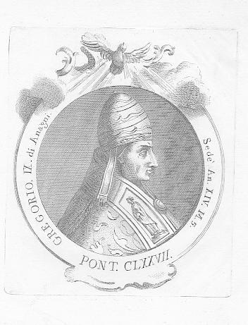 Porträt. Brustbild im Oval. Original Kupferstich (anonym),: Papst Gregor IX.,
