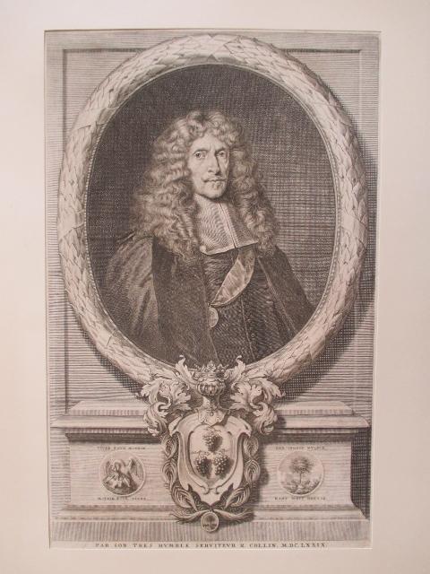 Porträt. Halbfigur im Oval, darunter Wappendarstellung sowie: Sandrart, Joachim von