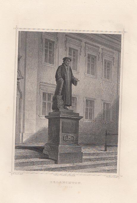 Denkmal in Nürnberg. Original - Stahlstich von: Melanchthon, Philipp (1497