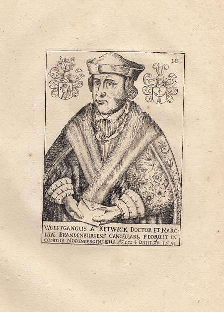"""Porträt. Halbfigur. Kupferstich aus """"Martin Friedrich Seidels: Kettwig, Wolfgang von."""