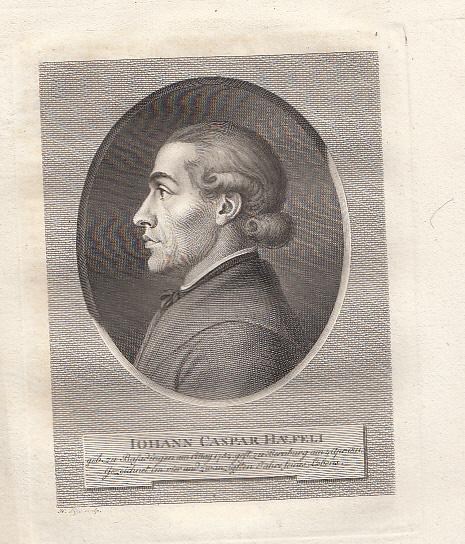 Porträt. Brustbild im Profil nach links. Stahlstich: Häfeli, Johann Caspar