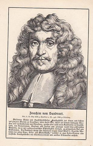 Porträt. Original - Holzstich, 11 x 9: Sandrart, Joachim von