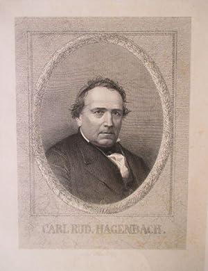 Porträt. Brustbild im Oval. Stahlstich von Weber,: Hagenbach, Karl Rudolf