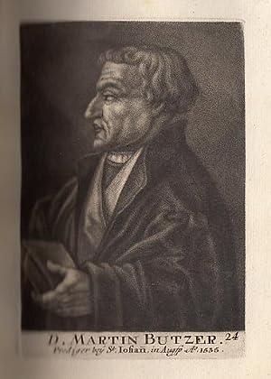 Porträt. Halbfigur mit Buch im Profil nach: Bucer (Buzer), Martin
