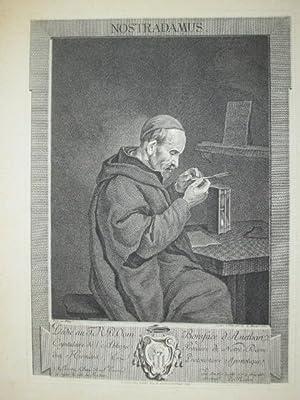 Porträt. Halbfigur im seitl. Profil nach rechts: Nostradamus, Nichel (Michel