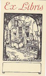 Exlibris (Universalexlibris). Antiquariat. Klischee. Blattgröße: 9 x: Pieck, Anton (1895