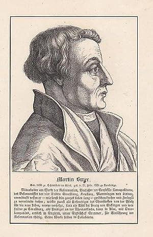 Porträt. Brustbild im Profil nach rechts. Holzstich,: Bucer (Buzer), Martin