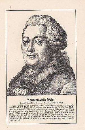 Porträt. Original - Holzstich, 11 x 9: Weiße, Christian Felix