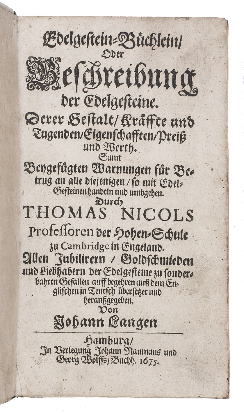 9cdf69ba21 Edelgestein-Büchlein, oder Beschreibung der Edelgesteine. Derer Gestalt,:  NICOLS, Thomas