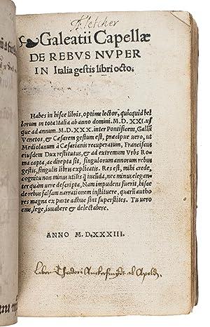 De rebus nuper in Italia gestis [in: CAPELLA, Galeazzo Flavio.