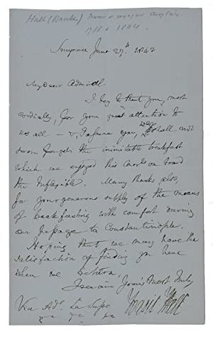 Autograph letter, signed, to Aaron Louis Frédéric: HALL, Basil.