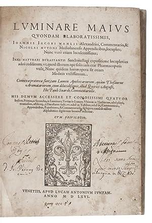Luminare maius quondam elaboratissimis, Joannis Jacobi Manlii: MANILIO, Giovanni Giacomo,