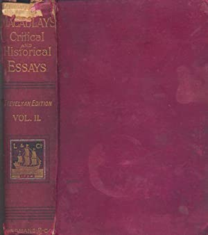 Critical And Historical Essays Contributed To The: Macaulay, T.B.