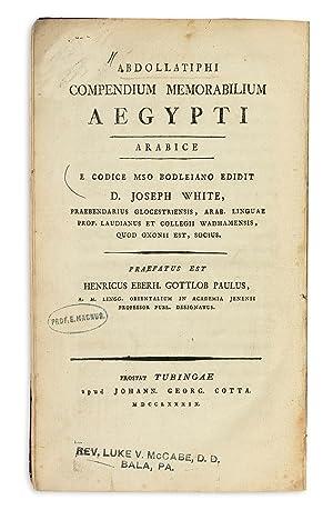 Compendium memorabilium Aegypti.: ABD AL-LATIF AL-BAGHDADI,