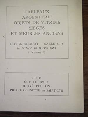 Vente de tableaux,argenterie,meubles anciens du 18 mars: Loudmer,Poulain, Cornette de