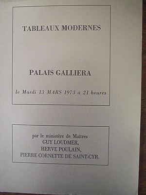 Galliera,Vente de tableaux modernes 13 mars 1973: Loudmer,Poulain, Cornette de