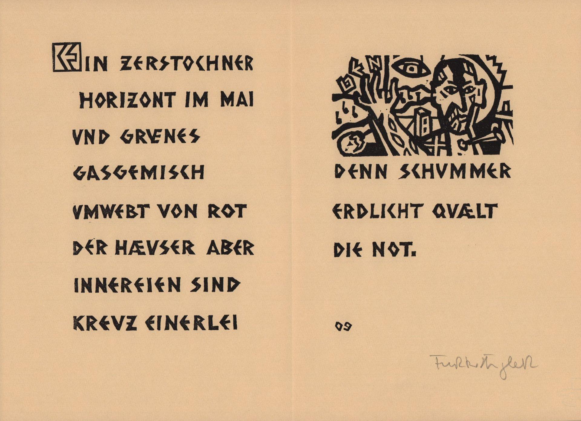 Ohne Titel Original Linolschnitt Beilage Zu Einem Text Des Furtwangler Felix