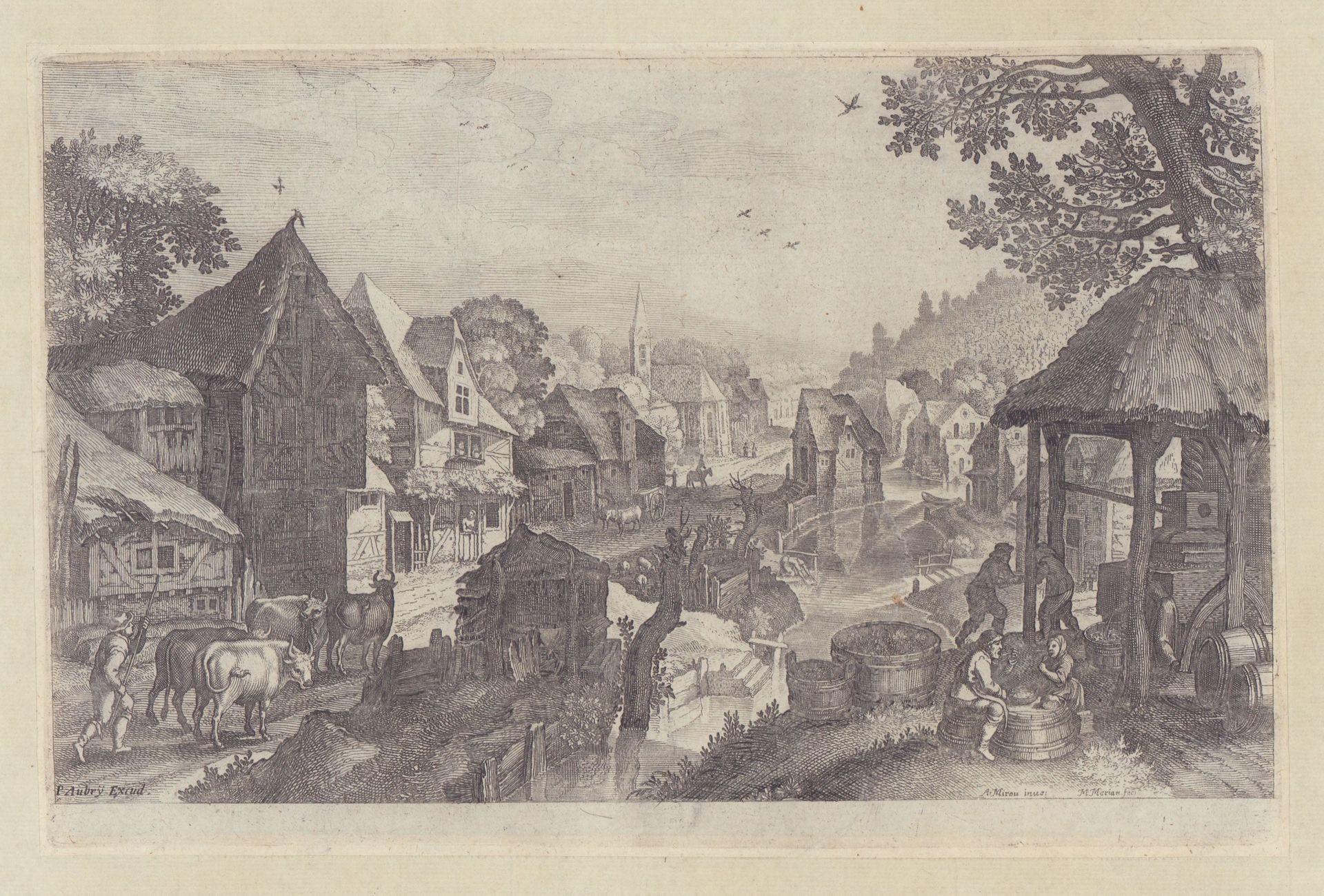 Dorf an einem Flüsschen mit Dorfpresse. Teil: Merian, Matthäus d.