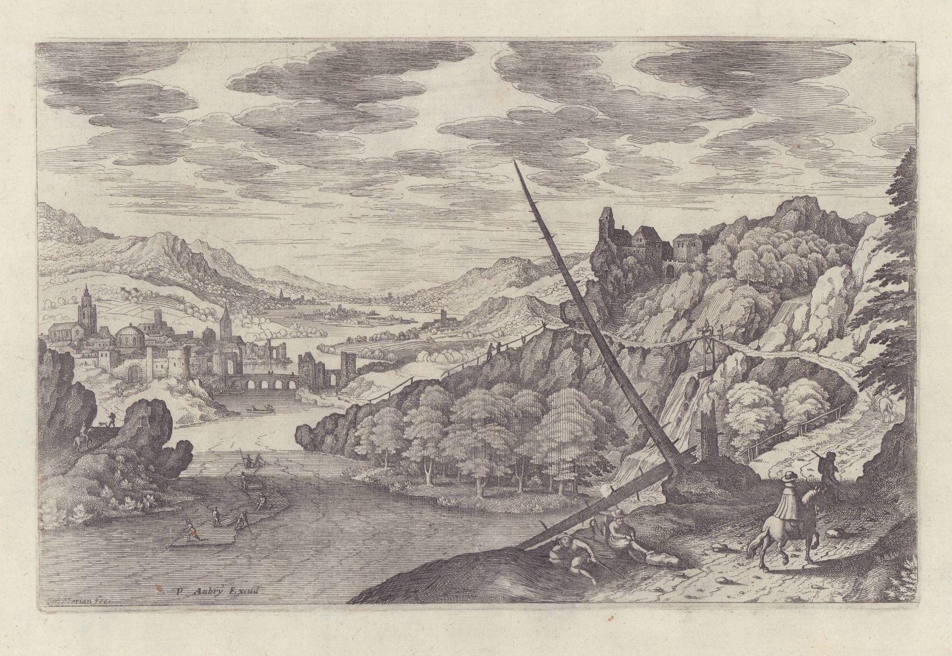Hohe Landstraße über engem Flussbett (gebrochene, kahle: Merian, Matthäus d.