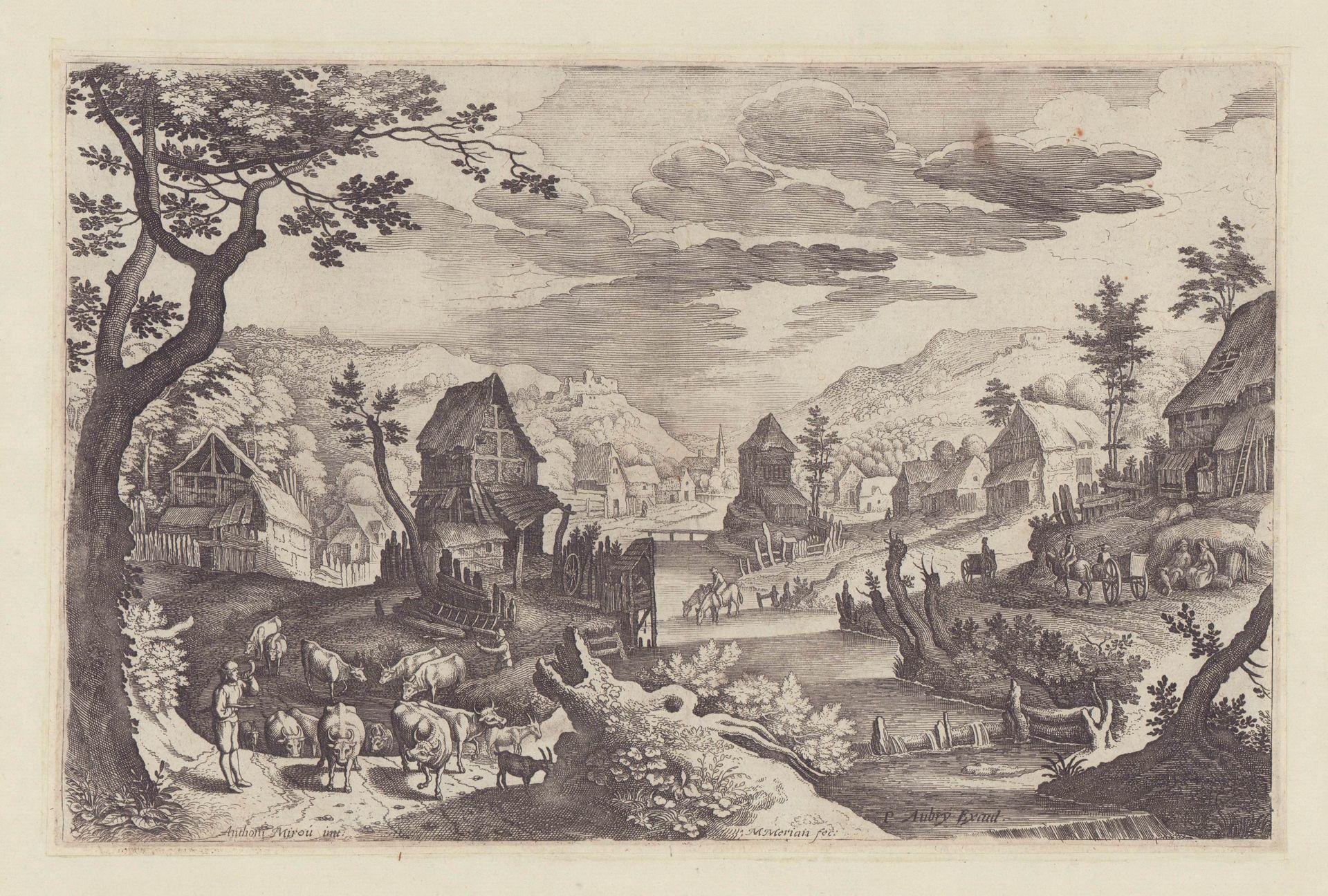 Dorf am Fluss mit hornblasendem Hirten. Teil: Merian, Matthäus d.