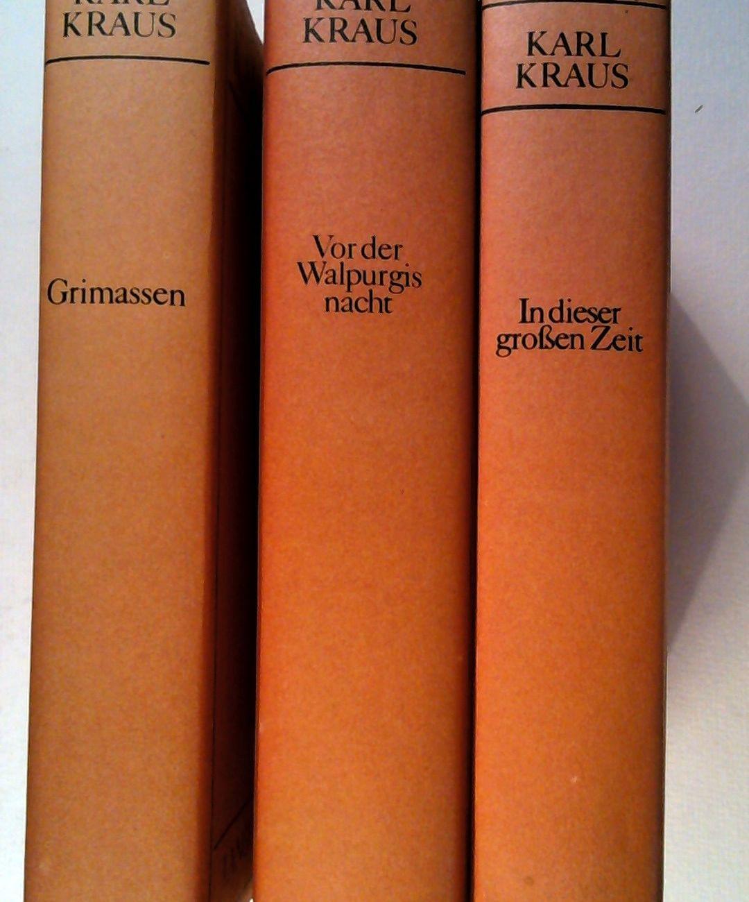 3 Bände , Grimassen - Auswahl 1902-14,: Kraus, Karl: