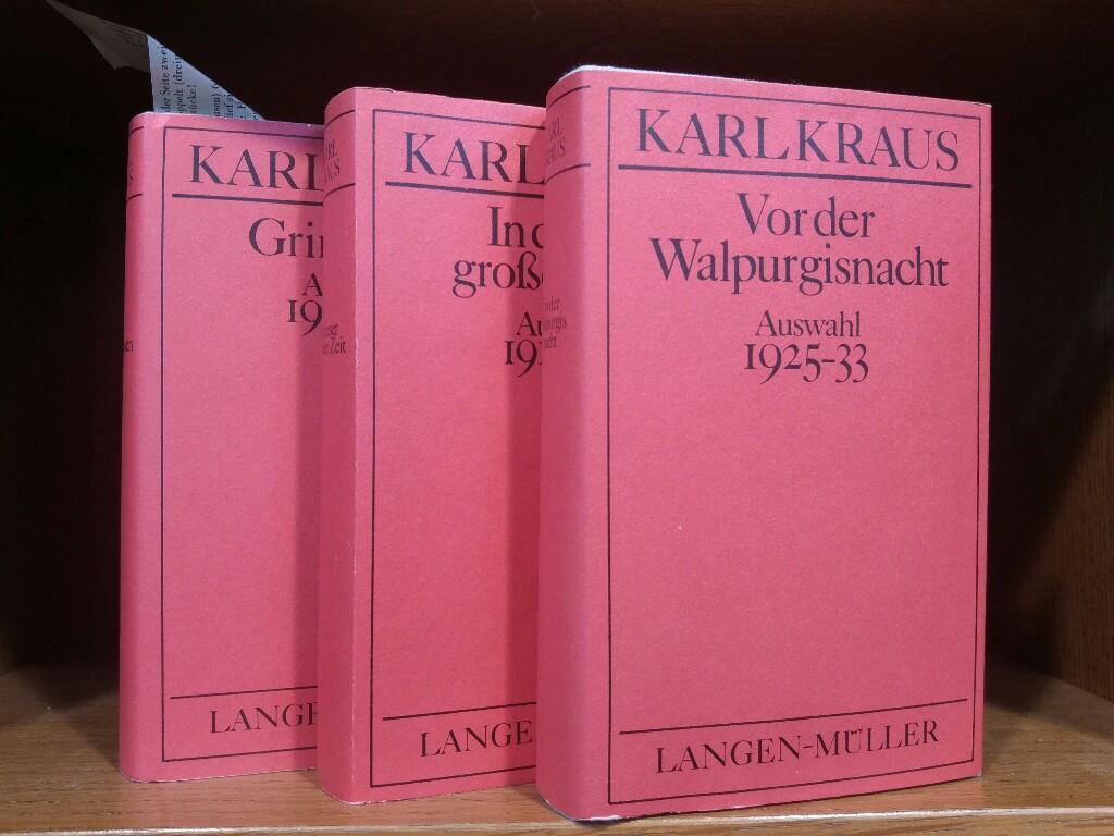 3 Bände: Band 1: Grimassen (Auswahl 1902-14);: Kraus, Karl: