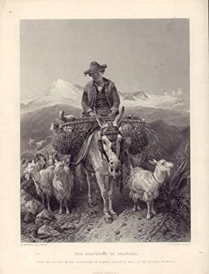 The Goatherd of Granada . Stahlstich nach: Richard ANSDELL (1815-1885)