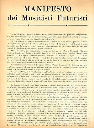 Manifesto dei Musicisti Futuristi: PRATELLA, Francesco Balilla