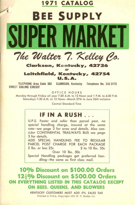 The Walter T. Kelley Co. Bee Supply Super Market catalogue