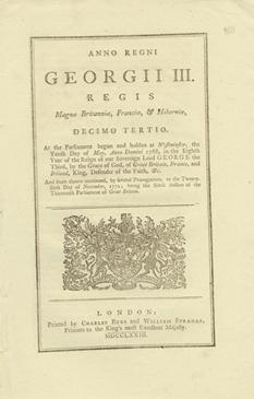 ANNO DECIMO TERTIO Georgii III. Regis. CAP. VII. An Act for allowing the free Importation of Rice...