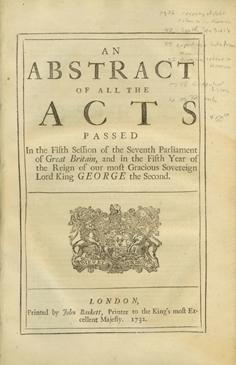 An Abstract of All the Acts Passed In the Fifth Session of the Seventh Parliament of Great Britai...