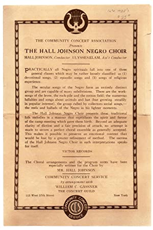 The Hall Johnson Negro Choir program