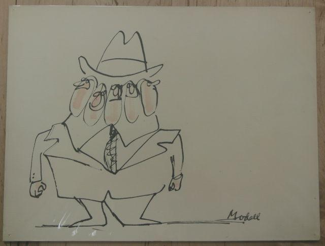 Original Signed Drawing of Man in a Suit with Five Faces by Frank Modell (American, 1927 - ) Modell, Frank Fine