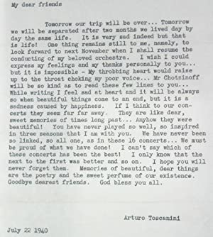 Typed Letter from Arturo Toscanini to his Orchestra, 1940: Toscanini, Arturo