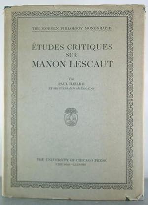 Etudes Critiques Sur Manon Lescaut: Hazard, Paul