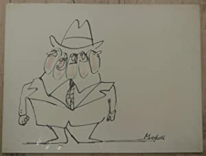 Original Signed Drawing of Man in a Suit with Five Faces by Frank Modell (American, 1927 - ): ...