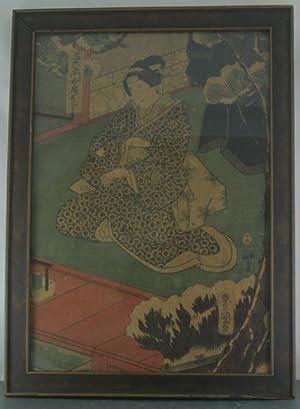 Color Woodblock of Seated Courtesan by Utagawa Kunisada: Kunisada, Utagawa