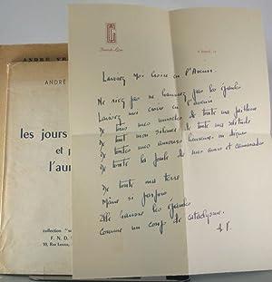 les jours les nuits et puis l'aurore [Inscribed Copy, with Original Drawing and Manuscript ...