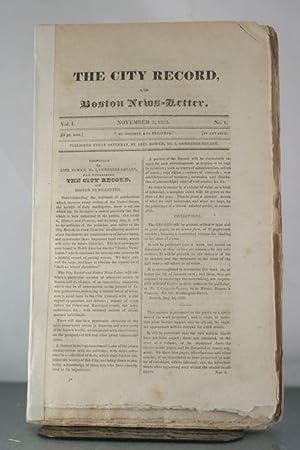 The City Record, and Boston News-Letter. Vol I, No. 1, November 5, 1825.: Bowen, Abel (et al)