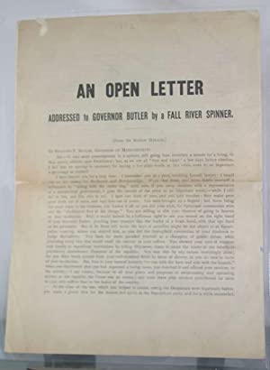 An Open Letter Addressed to Governor Butler by a Fall River Spinner: Warburton, James [American ...