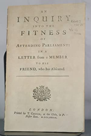 An Inquiry into the Fitness of Attending Parliament: Ear, War of Jenkins'